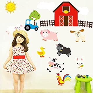 Farm Animal Wall Stickers House Nursery Baby Room Decal Mural Horse Car Home