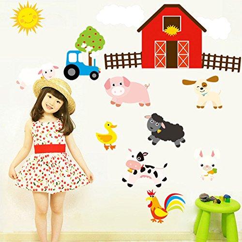 Farm Animal Wall Stickers House Nursery Baby Room Decal Mural Horse Car Home