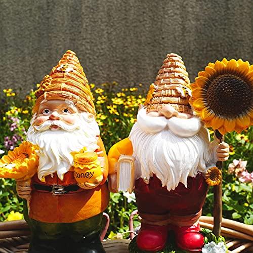 Jacriah-2-Pack- Sunflower Gnomes Garden Decor ,Yellow and Tan Polyresin Outdoor Garden Statue Garden Gnome Statue Decor,A Good Companion of Sunflowers