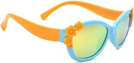 TIJN TR Frame Polarized Cateye Sunglasses Cute Flower Oval Shaped for Girls Kids