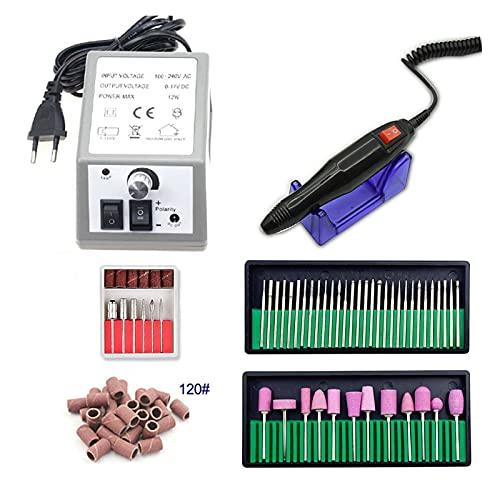 Kit de Uñas Máquina eléctrica de Taladro de uñas para manicura y Taladro de pedicura 1 2W 20000RPM Máquina de fresado Equipo de uñas Conjunto Archivo de uñas eléctricas Kit de Manicura