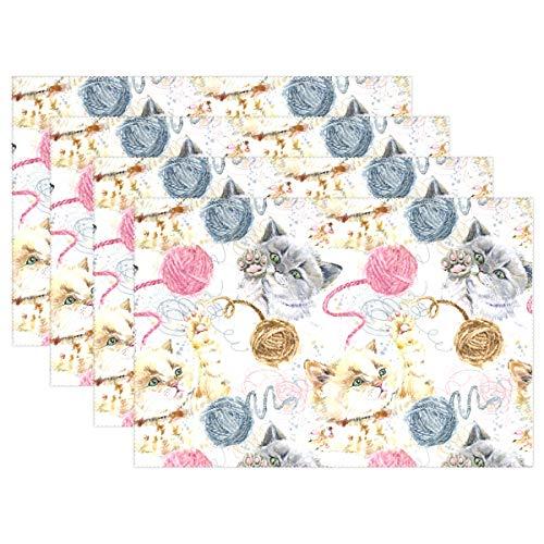 Set de 4 napperons antidérapants pour Table de Salle à Manger Cute Funtime de 12 x 18 po résistant à la Chaleur