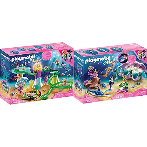 Playmobil Magic 70094 Korallenpavillon mit Leuchtkuppel, Ab 4 Jahren & Magic 70095 Nachtlicht Perlenmuschel, Ab 4 Jahren