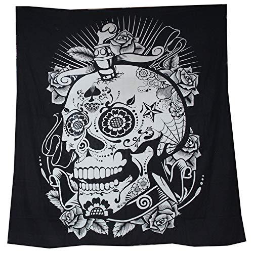 raajsee Schwarz und Weiß Totenkopf Wandteppich Mandala Queen (210x220cms)/Indisch Psychedelic Bohemian Hippie Wandbehang/Indischer Boho Wandtuch Hippie Decke Baumwolle Bohemian Mehrfarbige Tuch