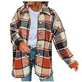 TDEOK Chaqueta de manga larga para mujer, a cuadros, con botones, informal, holgada, de manga larga, a cuadros, camisa de lana, naranja, M