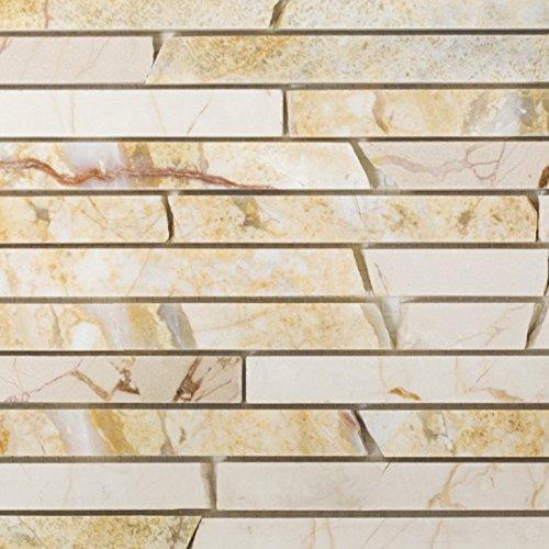 Mosaik Fliese Marmor Naturstein Brick golden cream poliert Struktur für BODEN WAND BAD WC DUSCHE KÜCHE FLIESENSPIEGEL THEKENVERKLEIDUNG BADEWANNENVERKLEIDUNG Mosaikmatte Mosaikplatte