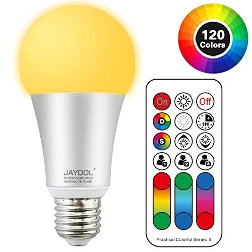 Jayool Ampoules à LED Changement de Couleur, 10W E27 Ampoules RGBW, 120 Couleurs RGB + Blanc Chaud, Vis Cap-4ème Génération (Lot de 1)