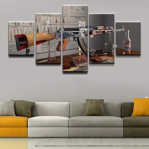 SJLAQ Armas AK-47 Arte de Pared Modular Lienzo Pintura imágenes 5 Piezas póster impresión decoración para Sala de estar-40x60 40x80 40x100cm sin Marco