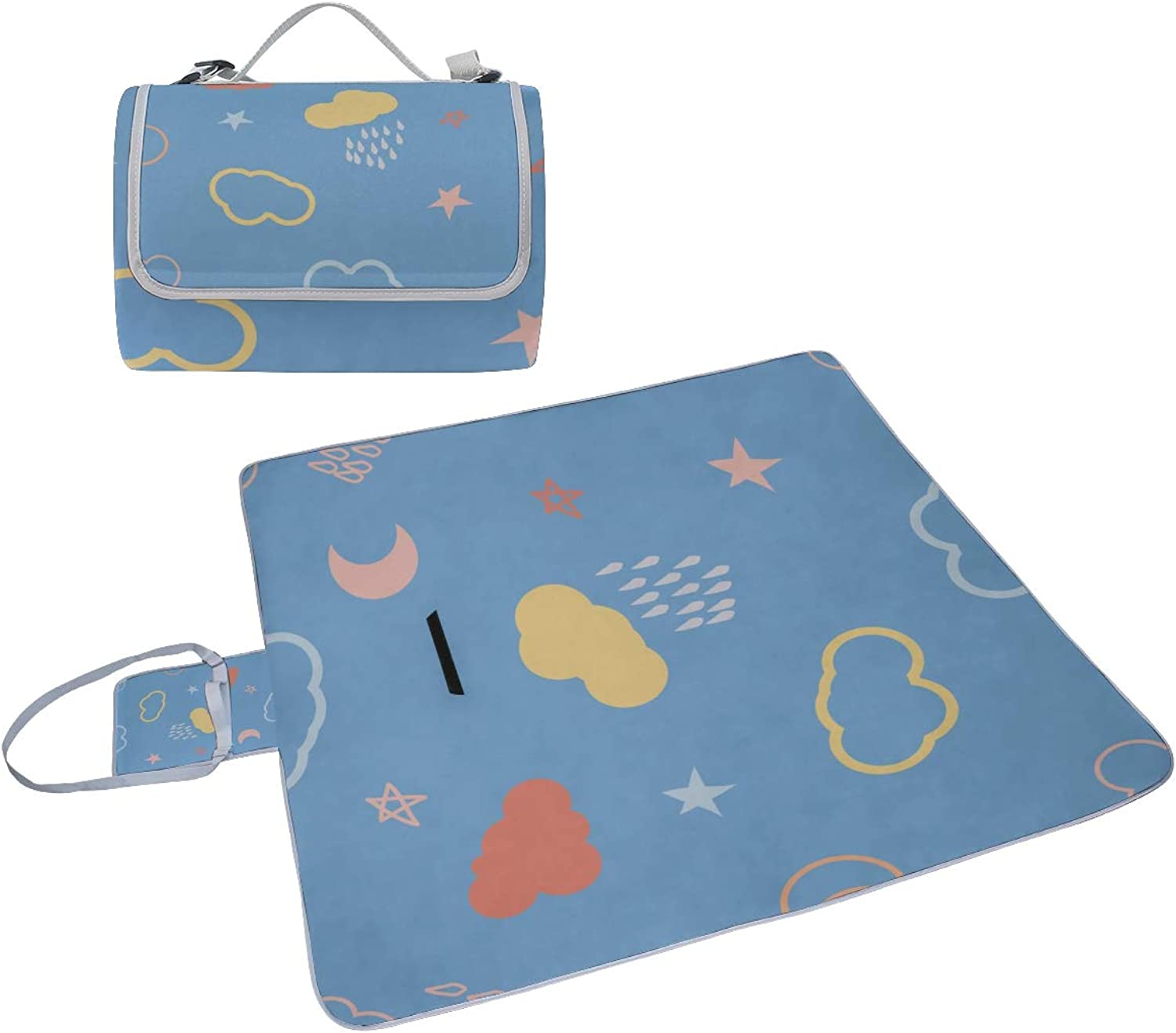 Prevent Fading Picnic Blanket for Girls Star Rain Design Style Cute Beach Mat Prevent Fading Foldable with Handle Outdoor Blanket Unisex Camping Camping 57 x59