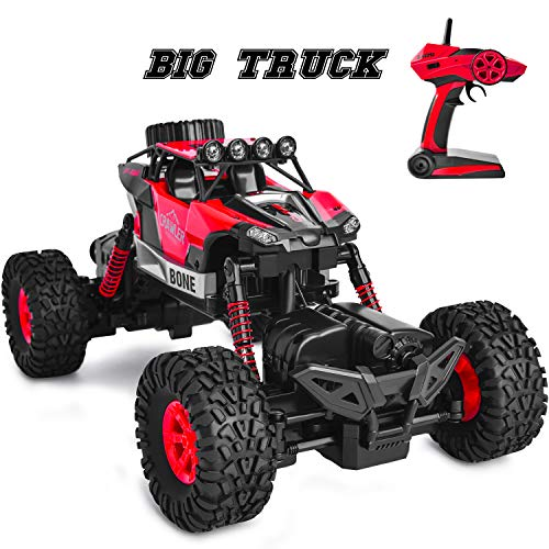 Remote Control Car RC Control Toy 4WD Off Road Monster Truck Crawler with Dual Motors 4 Steering Mode Big Remote Control Truck Toy for Boys Age 6 12 Years Old - Red