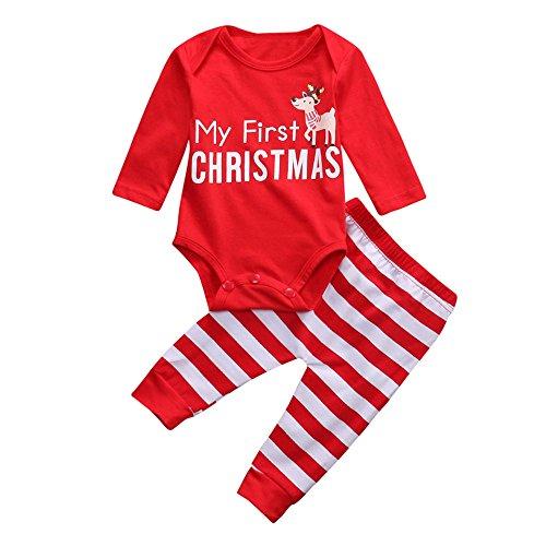 Fossen Disfraz Navidad Bebe Niña Niño My First Christmas Tops + Pantalones a Raya con Reno Ropa Conjunto Recien Nacido