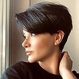 Queentas Parrucca corta diritta Pixie Cut 100% capelli umani brasiliani Remy con scocca laterale per donna