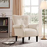 BELLEZE Wingback Modern Accent Chair Armrest Fabric Linen w/Backrest, Beige