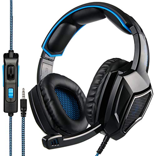 [Newest Updately]Sades SA920Plus Wired Stereo Gaming Headset Over Ear Headphones with Microphone for New Xbox One / PS4 / PC/Cell Phones- Black/Blue Headsets