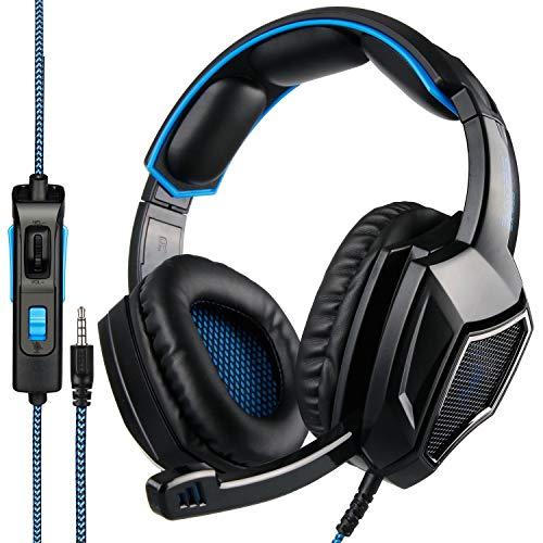 Huoqilin SA920 Plus Casque de jeu filaire stéréo avec micro pour PC/Mac/PS4 Noir/bleu 3,5 mm