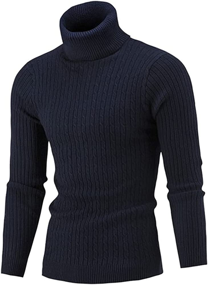 NP Turtleneck Sweater Casual Men Winter Color Turtle Neck Long Sleeve Knitted Slim