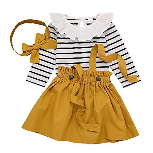 Mono de algodón de rayas de manga larga + falda + lazo + cinta para la cabeza 3 piezas para bebés