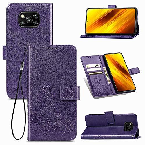 Custodia protettiva per Xiaomi Per Xiaomi Poco X3 NFC Chiusura a quattro foglie Fibbia in rilievo Custodia in pelle di protezione del telefono cellulare con cordino, slot per schede, portafoglio e sta