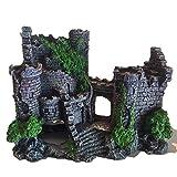 Fltaheroo Tanque de Peces Artificiales de Resina DecoracióN Antigua del Castillo Acuario Roca Cueva DecoracióN del Edificio Ornamento de Paisajismo AcuáTico
