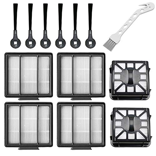 RONGJU Replacement Part Aaccessory Set for Shark IQ R101AE (RV1001AE),IQ R101 (RV1001) Robot Vacuum Cleaner, 4-Pack HEPA Filter, 6 Side Brushes, 2 Filter & 4 Base Pre-Motor Foam & Felt Filters Kit Dining Features Filters Kitchen Upright