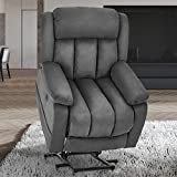 Esright Gray Power Lift Chair Electric Recliner Sofa for Elderly, Microfiber Electric Recliner Chair with Heated Vibration Massage, Side Pocket and USB Port, Gray