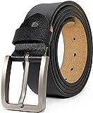 Zzxx - Cinturones para hombre grandes y altos de cuero genuino para vestido de jeans, color negro, XL 37 a 39 pulgadas, longitud 120 cm