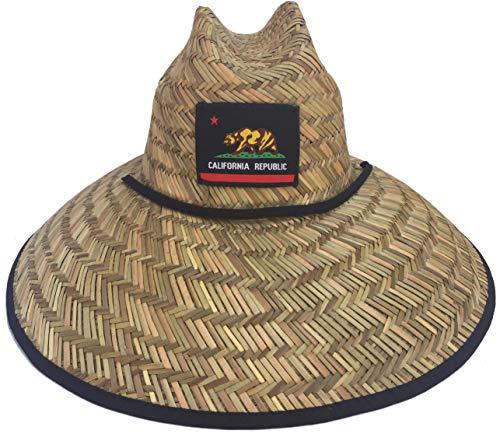 Wide Brim Lifeguard Hat Rush Straw (Medium/Large, Cali Black)