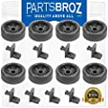 WD35X21041 Lower Dishrack Roller & Axle Kit (8-Pack) by PartsBroz - Compatible with GE Dishwashers - Replaces AP5986366, WD12X10277, WD12X10136, PS11725221, WD12X10107, WD12X10126, WD12X10261