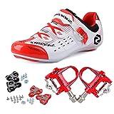 TXJ - Zapatillas de ciclismo con pedales de clip, SD-003 Weiß / Rot, pedale rot, 26,5 cm