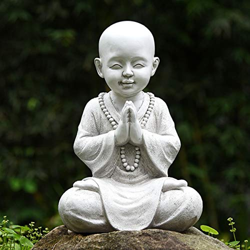 LIMEIDE Meditating Baby Monk Buddha Statue Figurine, Zen Garden Monk Sculpture,Decor for Home Garden Patio Deck Porch Yard Art Decoration with Natural Wood Beaded Necklace,11.2 Inch (White)