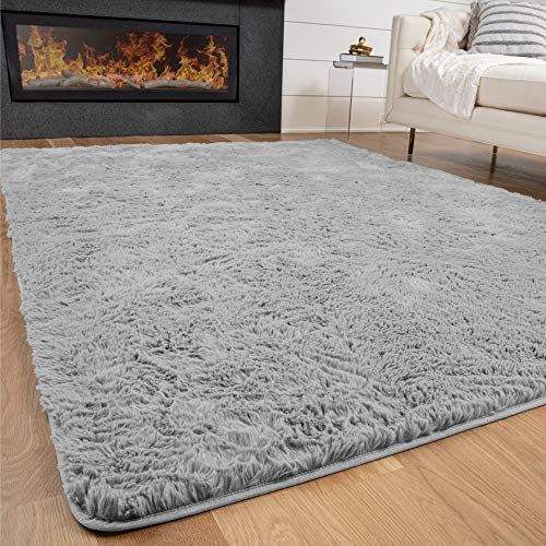 Gorilla Grip Original Premium Fluffy Area Rug, 5x8 Feet, Super Soft High Pile Shag Carpet, Washer and Dryer Safe, Rugs for Floor, Luxury Home Carpets for Nursery, Bed and Living Room, Light Gray
