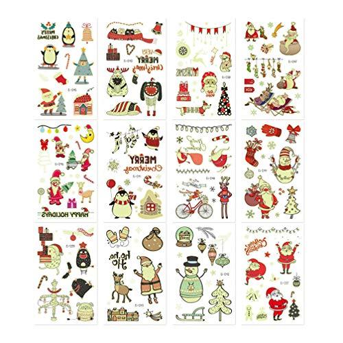 Minkissy 12 Sheets Waterproof Tattoos Sticker Christmas Glowing Tattoo Santas Snowman Pattern for Children Christmas Decals Gift Bag Supplies