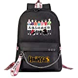 ZZGOO-LL Haikyuu!!Hinata Shoyo/Tobio Kageyama with Chain USB Anime Mochilas Backpack Escolar para Hombres Mujeres Trabajo, Tableta Unisex Black-E