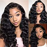 BLY Loose Deep Wave Lace Front Wigs Human Hair Pre Plucked with Baby Hair 20 Inch Brazilian Virgin Hair 13x4 Frontal Wigs Glueless for Black Women 150% Density Natural Black