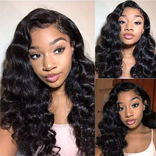 BLY Loose Deep Wave Lace Front Wigs Human Hair with Baby Hair Brazilian Virgin Hair 16 Inch for Black Women 150% Density Pre Plucked 13x4 Swiss Lace Size Part Natural Black Color