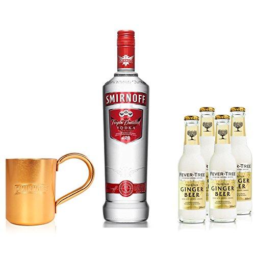 Moscow Mule Set - Smirnoff Vodka 0,7l 700ml (40% Vol) + 4x Fever Tree Ginger Beer 200ml + Smirnoff oder Fever Tree Mule Becher - Inkl. Pfand MEHRWEG