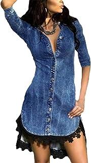 Rawdah- Clearance,Vestiti Donna Estate Vestiti da Donna CasualA Bustier Pulsante Giù Denim Sexy Vestito Le Signore Pizzo J...