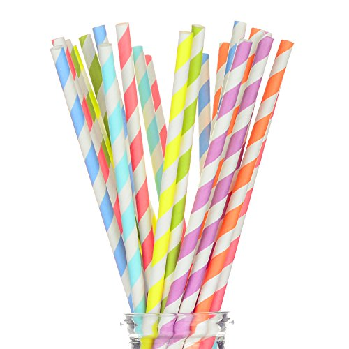 "175 Count Striped Paper Straws for Party, Events and Crafts 7 3/4"" in Assorted Rainbow Colors of Special Curation (Striped)"