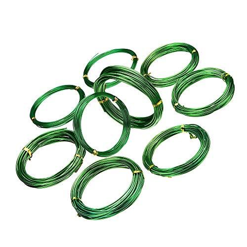 9 Rollos de Alambre de Aluminio Anodizado para BonsáI para Manualidades Alambre de Aluminio de Colores Para Jardín BonsáI 3 Tamaños 2 Colores (verde)