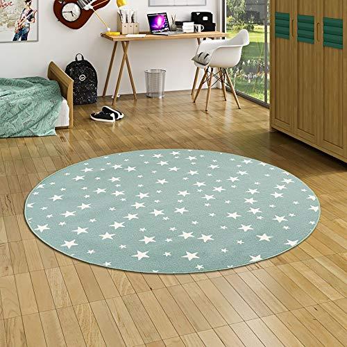 Alfombra Infantil y de Juego Redonda con diseño de Estrellas - Verde Menta - 4 tamaños