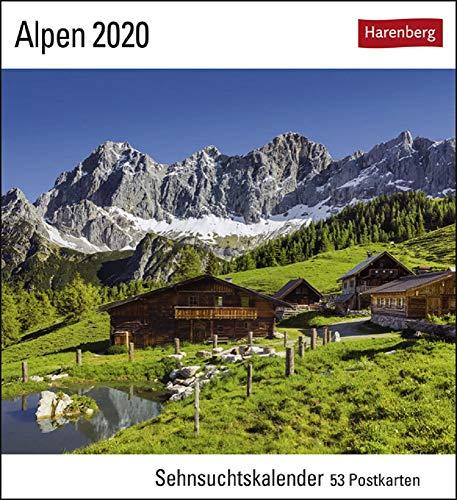 Sehnsuchtskalender Alpen - Kalender 2020 - Harenberg-Verlag - Postkartenkalender mit 53 heraustrennbaren Postkarten - 16 cm x 17,5 cm