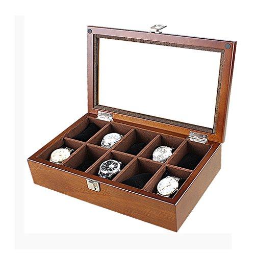 Holz Uhrenbox Schmuck Aufbewahrungsbox Sammlung Box Display Aufbewahrungsbox 10 Grid ( Farbe : Walnut Farbe )