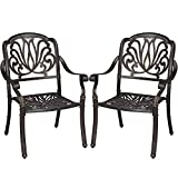 Yaheetech Cast Aluminum Dining Chair Set of 2, Stackable Patio Dining Chairs Patio Furniture for Garden Deck Antique, Bronze