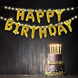 Hiboom Happy Birthday Balloon Banner Golden Letters Aluminum Foil Balloons and Warm White Copper Wire Lights in with 8 Flashing Patterns for Birthday Party Decoration