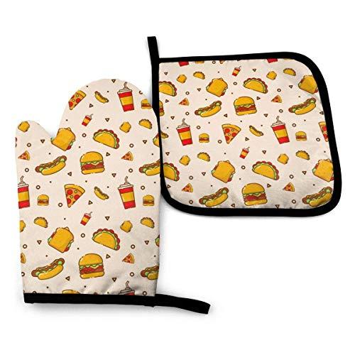 Guantes de Horno Guantes de para Horno Antideslizante Resistentes al Calor,Dibujos Animados De Hot Dog Taco Burger Pizza Y Bebida,2 Guantes de Horno + 1 Almohadillas de Mantel