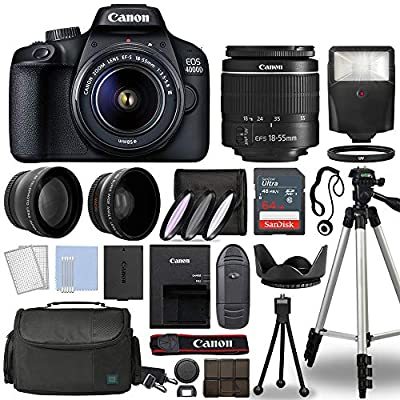 Canon EOS 4000D / Rebel T100 Digital SLR Camera Body w/Canon EF-S 18-55mm f/3.5-5.6 Lens 3 Lens DSLR Kit Bundled with Complete Accessory Bundle + 64GB + Flash + Case & More - International Model by Canon Cameras Inc.