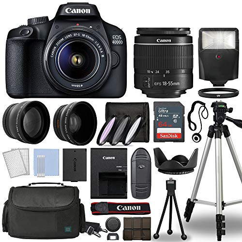 Canon EOS 4000D / Rebel T100 Digital SLR Camera Body w/Canon EF-S 18-55mm f/3.5-5.6 Lens 3 Lens DSLR Kit Bundled with Complete Accessory Bundle + 64GB + Flash + Case & More - International Model