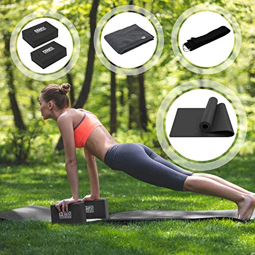 KT20 Complete Home & Professional Yoga Mat & Accessories Set, Eco-Friendly Non-Slip 6mm...