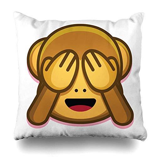 Funda de almohada blanca Emoji linda cara de mono abstracta plana Emoticon con ojos cerrados diseño asiático Estado de ánimo funda de almohada decorativa 45 x 45 cm