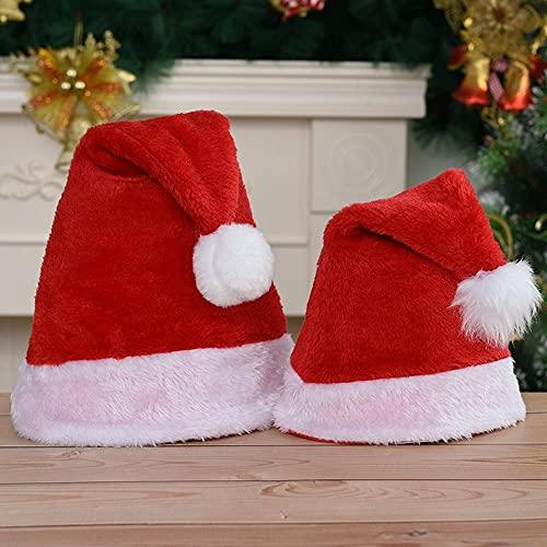 HNDOZO Cappello da Babbo Natale Forniture per feste di Natale Cappello da Babbo Natale per feste regalo adulto/bambino 2 pezzi Natale neutro 40x30 cm-Lungo Peluche_Adulto